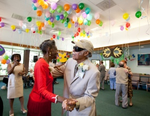 Dancing at the InnovAge Johnson Adult Day Program for those with dementia.