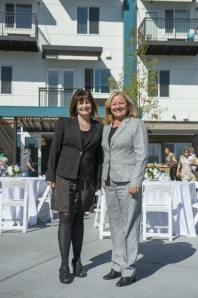 Thornton Mayor Heidi Williams (left) with InnovAge President/CEO Maureen Hewitt at Welcome Home celebration.
