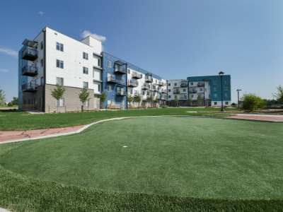 Putting green InnovAge low-income senior community in Colorado.